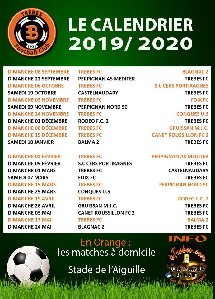 Foot TFC calendrier 2019-2020