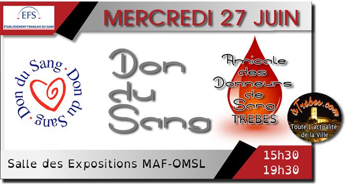 don du sang 27 juin2018 Trèbes