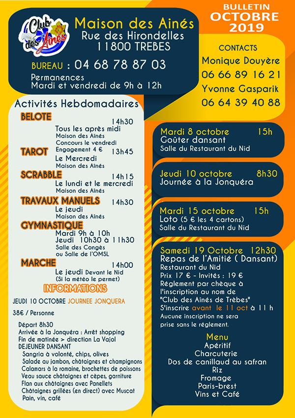 bulletin OCT  2019 Trèbes Club des Aînés