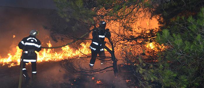pompiers-incendie-route de Berriac -Trèbes