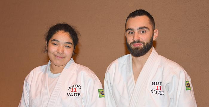 Dounia Nacer et l'un de ses coaches Adrien Pavia