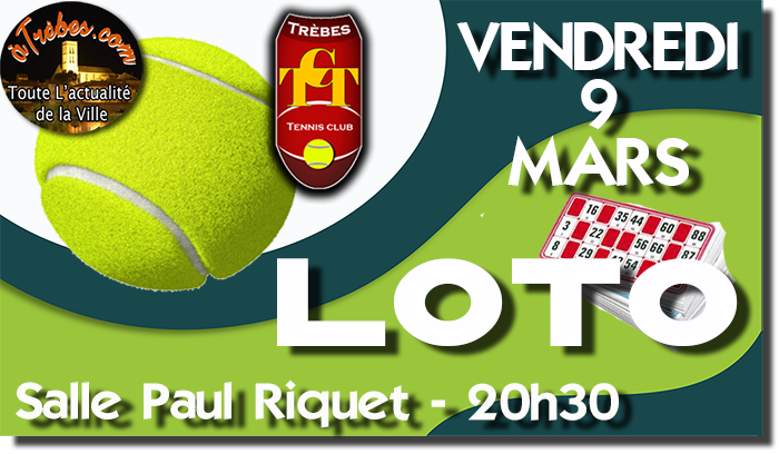 Tennis annonce LOTO mars 2018 Trèbes