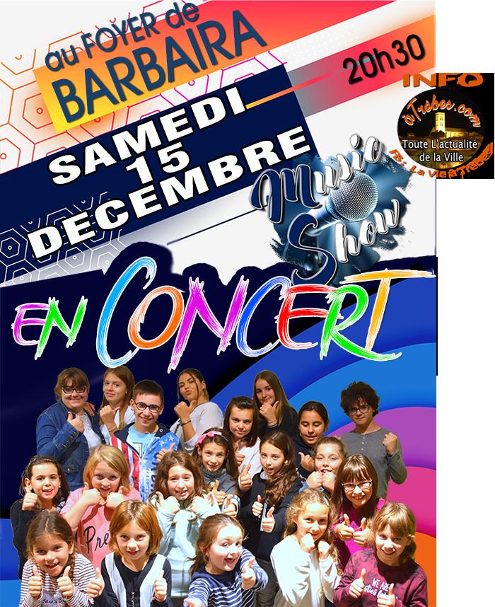 afficheconcert Music Show Trèbes dec2018