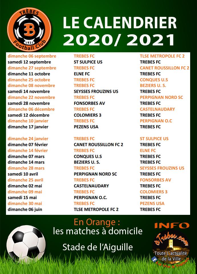 Le Calendrier 2020/2021 du TFC | A Trèbes